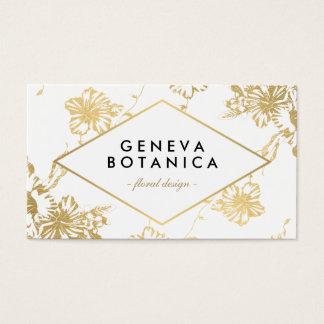 模造のな金ゴールドの花柄のモダンで白い名刺 名刺