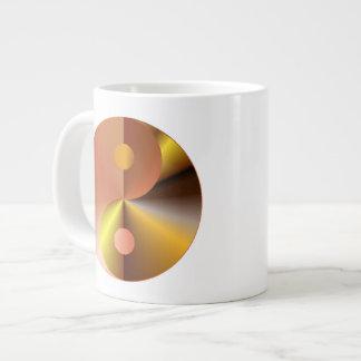 模造のな金ゴールドの陰陽 ジャンボコーヒーマグカップ