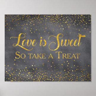 模造のな金ゴールドの黒板の紙吹雪の結婚式のデザートの印 ポスター