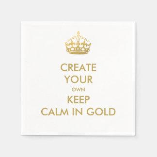 模造のな金ゴールドのKeep Calm and Carry Onの結婚披露宴 スタンダードカクテルナプキン