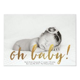 模造のな金ゴールドのOh赤ん坊の写真の誕生の発表 カード