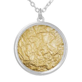 模造のな金ゴールドは金属ホイルの効果をしわにしました シルバープレートネックレス