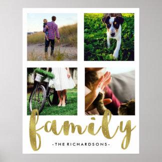模造のな金ゴールドホイルとのモダンで白い家族写真の格子 ポスター