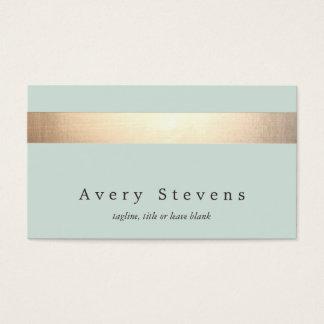 模造のな金ゴールドホイルのストライプのでエレガントな淡いブルーの上品 スタンダード名刺