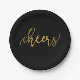 模造のな金ゴールドホイルの新年のパーティー-応援 ペーパープレート