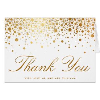 模造のな金ゴールドホイルの紙吹雪のエレガントなサンキューカード グリーティングカード