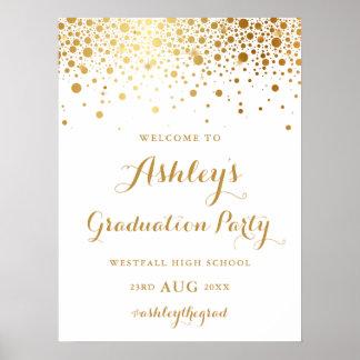 模造のな金ゴールドホイルの紙吹雪の卒業パーティーポスター ポスター