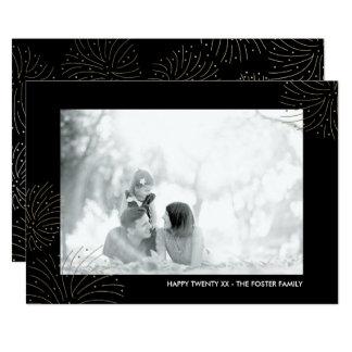 模造のな金ゴールドホイルの花火の新年の写真カード 12.7 X 17.8 インビテーションカード