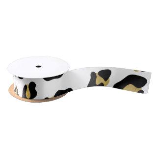 模造のな金ゴールドホイルの黒のヒョウのプリントパターン サテンリボン