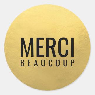 模造のな金ゴールドホイルの黒MERCI BEAUCOUP ラウンドシール
