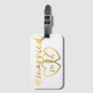 模造のな金ゴールドホイルのHashtagの結婚したな新婚旅行のバッグのラベル バッグタグ