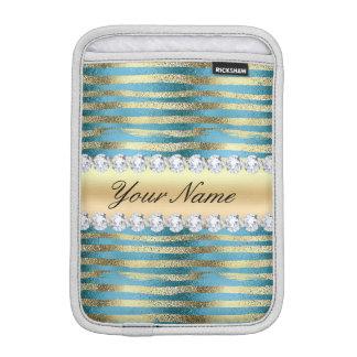模造のな金ゴールドホイルは波状の青い金属で縞で飾ります iPad MINIスリーブ