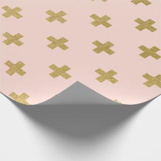 模造のな金ゴールドホイルスイスの十字パターン ラッピングペーパー