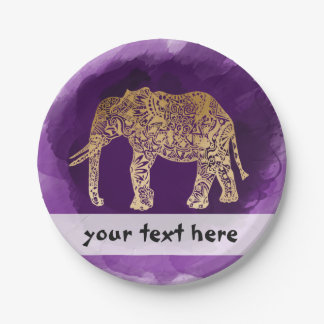 模造のな金ゴールドホイル種族象の紫色ブラシストローク ペーパープレート