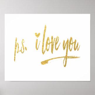 模造のな金ゴールドホイルp.s.i愛w/Heart ポスター