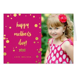 模造のな金ゴールドホイルXOXO |の母の日の挨拶状 カード