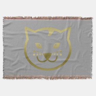 模造のな金ゴールド猫の顔-カスタムな背景色 スローブランケット