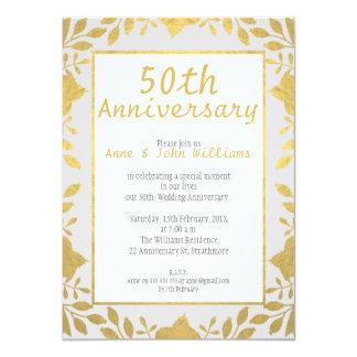 模造のな金ゴールド第50の結婚記念日の招待状 11.4 X 15.9 インビテーションカード