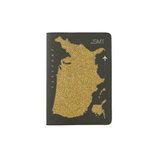 模造のな金ゴールド米国の地図、アメリカ旅行 パスポートカバー