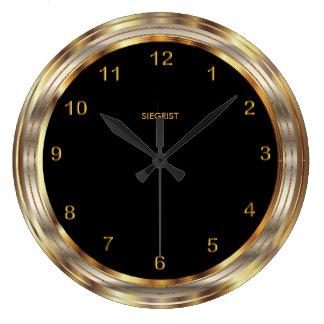 模造のな金属金ゴールドフレームとの黒 ラージ壁時計