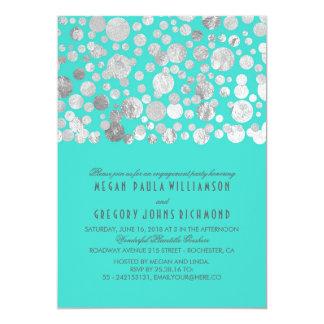 模造のな銀ぱくの紙吹雪のティール(緑がかった色)の婚約パーティ カード