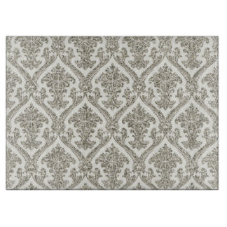 模造のな銀製のグリッターのダマスク織花パターン台所 カッティングボード