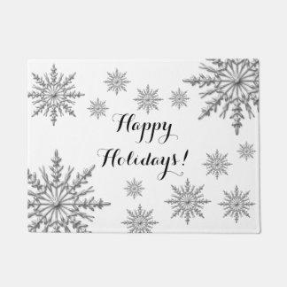 模造のな銀製の冬の雪片の幸せな休日 ドアマット