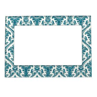 模造のな青緑のグリッターのダマスク織の花柄パターン マグネットフレーム