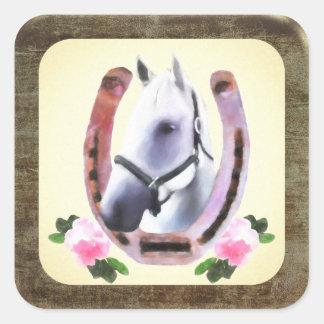 模造のな革フレームの色彩の鮮やかな馬 スクエアシール
