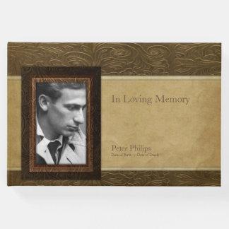 模造のな革羊皮紙の写真の記念の来客名簿 ゲストブック