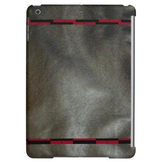 模造のな革iPadの場合の黒の灰色5