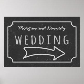 模造のな黒板の結婚式の方向権利ポスター ポスター