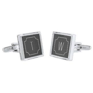 模造のな黒板の銀によってめっきされる正方形のカフスボタン シルバー カフスボタン