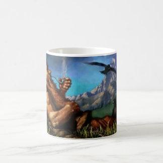 横たわる小型戦士。 レトロの賭博のコーヒー・マグ コーヒーマグカップ