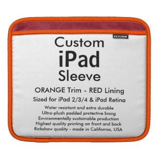 横のカスタムなiPadの袖- (オレンジ及び赤い) iPadスリーブ