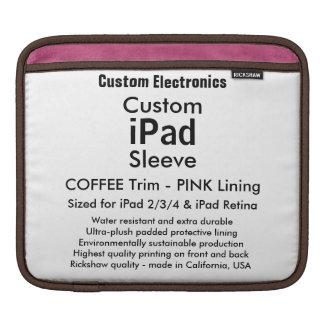 横のカスタムなiPadの袖- (コーヒー及びピンク) iPad スリーブ
