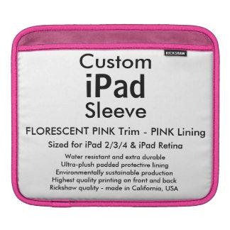 横のカスタムなiPadの袖- (ピンク及びピンク) iPad 用スリーブ