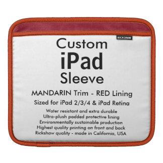 横のカスタムなiPadの袖- (マンダリン及び赤) iPad 用スリーブ