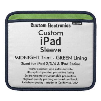 横のカスタムなiPadの袖- (真夜中及び緑) iPad 用スリーブ