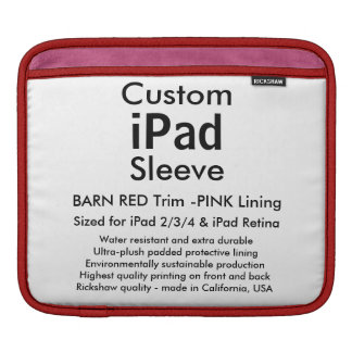 横のカスタムなiPadの袖- (赤い及びピンク納屋) iPadスリーブ