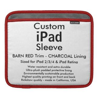 横のカスタムなiPadの袖- (赤い及び灰色納屋) iPadスリーブ
