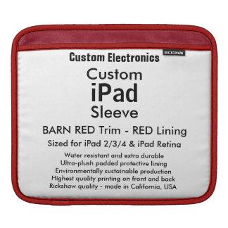 横のカスタムなiPadの袖- (赤く及び赤い) iPadスリーブ