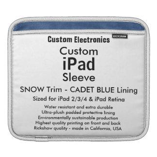 横のカスタムなiPadの袖- (雪及び青) iPad 用スリーブ