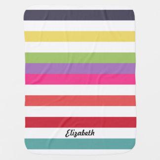 横のガーリーな虹は広く名前と縞で飾ります ベビー ブランケット