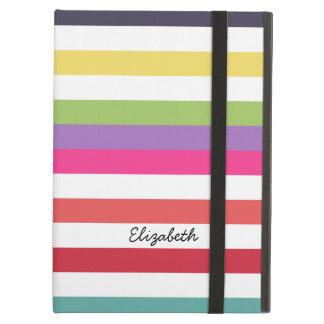 横のガーリーな虹は広く名前と縞で飾ります iPad AIRケース