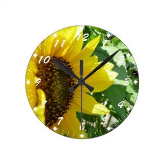 横のヒマワリ ラウンド壁時計