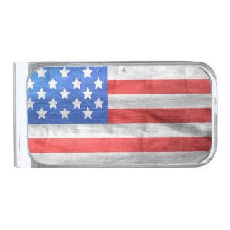 横のヴィンテージの米国旗 シルバー マネークリップ