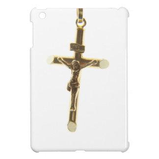 横の十字のイエス・キリスト金ゴールド iPad MINIケース
