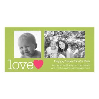 横の幸せなバレンタインデー- 2つの写真- カード