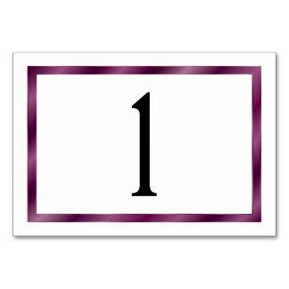 横の紫色のリボンのテーブルカード- カード